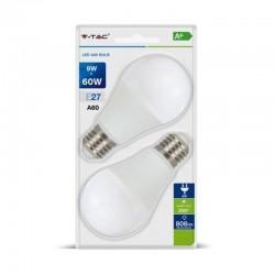 V-TAC VT-2139 DUO PACK CONFEZIONE 2 LAMPADINE LED E27 9W BULB A60 - SKU 7294 / 7295 / 7296