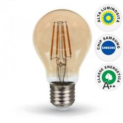 V-TAC VT-266 LAMPADINA LED E27 6W BULB A60 CHIP SAMSUNG FILAMENTO AMBRATA - SKU 286
