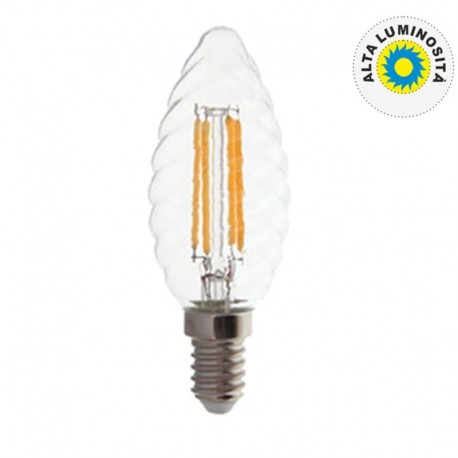 V-TAC VT-1985 LAMPADINA LED E14 4W CANDELA TWIST CROSS FILAMENT - SKU 43071