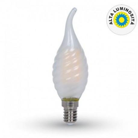 V-TAC VT-1923 LAMPADINA LED E14 4W CANDELA FIAMMA FROST TWIST FILAMENTO - SKU 7110 / 7111 / 7112