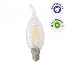 V-TAC VT-1995D LAMPADINA LED E14 4W CANDELA FIAMMA TWIST FILAMENTO DIMMERABILE - SKU 4388