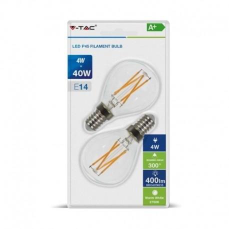 V-TAC VT-2184 DUO PACK CONFEZIONE 2 LAMPADINE LED E14 4W MINIGLOBO CROSS FILAMENT - SKU 7366