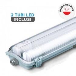 V-TAC VT-12023 TUBO LED PLAFONIERA 2X18W LAMPADINA 120CM IMPERMEABILE - SKU 6387 / 6399