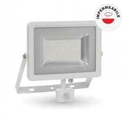 V-TAC VT-4850 PIR FARETTO LED 50W ULTRA SOTTILE SLIM CON SENSORE COLORE BIANCO - SKU 5758 / 5753 / 5754