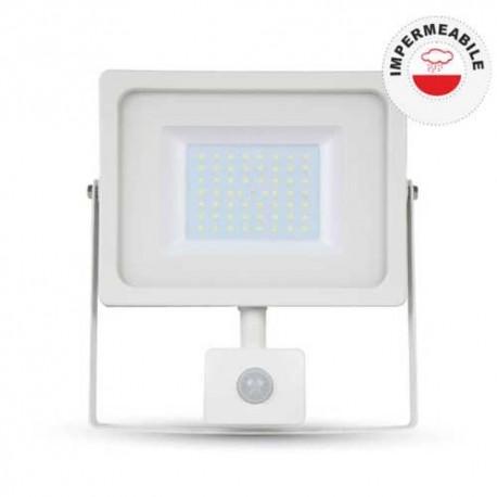 V-TAC VT-4955 FARETTO LED 50W ULTRA SOTTILE SLIM CON SENSORE COLORE BIANCO - SKU 5840 / 5841 / 5842