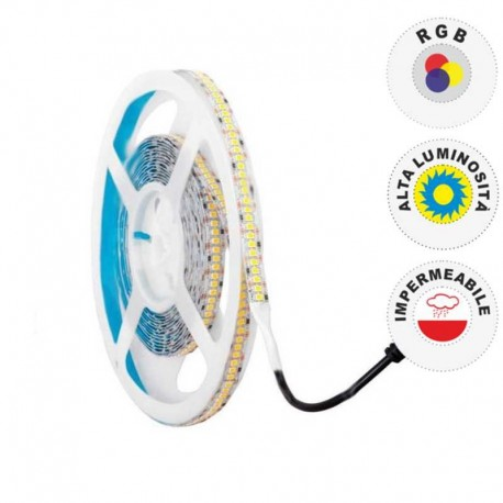 V-TAC STRISCIA LED 5050 IMPERMEABILE MULTICOLORE RGB 30 LED/METRO - BOBINA DA 5 METRI - SKU 2118