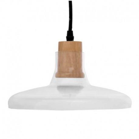 V-TAC VT-7240 LAMPADARIO A SOSPENSIONE IN VETRO CON PORTALAMPADA IN LEGNO PER LAMPADINE E27 - SKU 3820