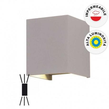 V-TAC VT-759 LAMPADA DA MURO WALL LIGHT GRIGIA CON DOPPIO LED COB 6W - SKU 7080 / 7089