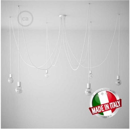 Spider, sospensione multipla a 5/6/7 cadute, metallo bianco, cavo RM01 Bianco, Made in Italy