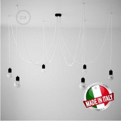 SPIDER, LAMPADARIO A SOSPENSIONE MULTIPLA A 5/6/7 CADUTE, METALLO NERO, CAVO RM01 BIANCO, MADE IN ITALY