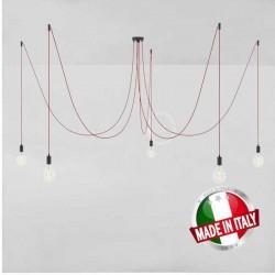 SPIDER, LAMPADARIO A SOSPENSIONE MULTIPLA A 5/6/7 CADUTE, METALLO NERO, CAVO RM01 ROSSO, MADE IN ITALY