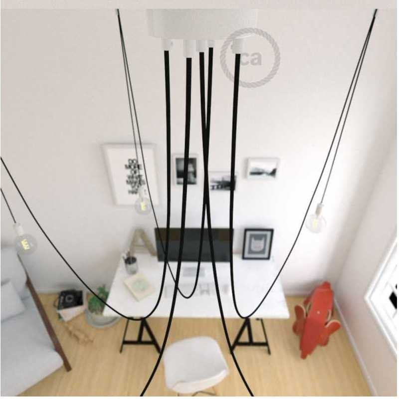 Cavi Per Lampadari A Sospensione.Spider Lampadario A Sospensione Multipla A 5 6 7 Cadute Metallo