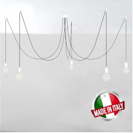 SPIDER, LAMPADARIO A SOSPENSIONE MULTIPLA A 5/6/7 CADUTE, METALLO BIANCO, CAVO RM01 NERO, MADE IN ITALY