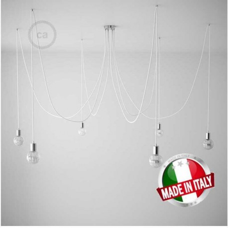 SPIDER, LAMPADARIO A SOSPENSIONE MULTIPLA A 5/6/7 CADUTE, METALLO CROMATO, CAVO RL021 GLITTERATO ARGENTOO, MADE IN ITALY