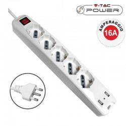 V-TAC MULTIPRESA 5 POSTI E 2 PRESE USB COLORE BIANCO CON INTERRUTTORE - SKU 8715