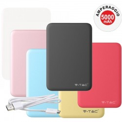 V-TAC VT-3503 POWER BANK PORTATILE 5000 MAH 2 USCITE USB 2,1A - SKU 8191 / 8192 / 8193 / 8194 / 8195 / 8196