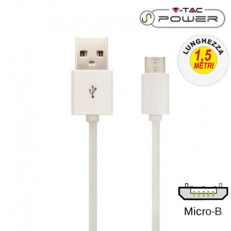 V-TAC VT-5332 CAVO USB A MICRO USB 1,5 METRI BIANCO - SKU 8450
