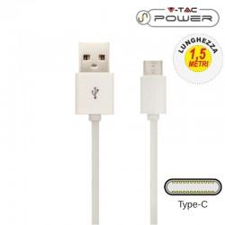 V-TAC VT-5342 CAVO USB A USB TYPE C 1,5 METRI BIANCO - SKU 8456