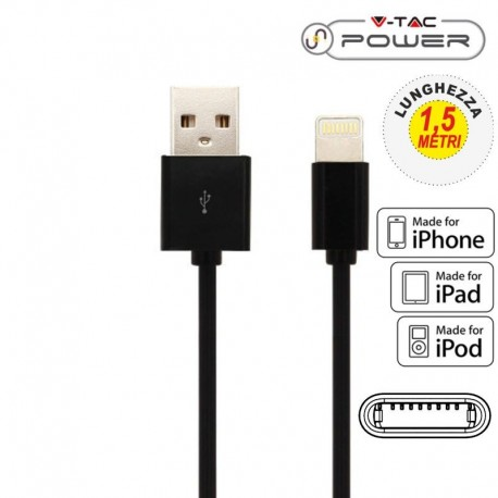 V-TAC VT-5552 USB DATA CABLE LIGHTING CERTIFICATO MFI CAVO COLORE NERO 1,5M - SKU 8452