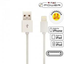 V-TAC VT-5552 USB DATA CABLE LIGHTING CERTIFICATO MFI CAVO COLORE BIANCO 1,5M - SKU 8453