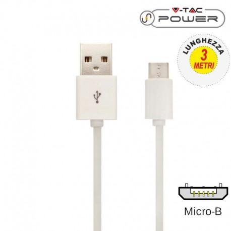 V-TAC VT-5333 CAVO USB A MICRO USB 3 METRI BIANCO - SKU 8451
