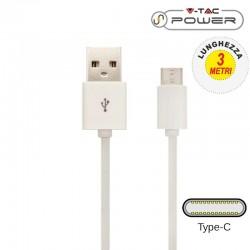 V-TAC VT-5343 CAVO USB A USB TYPE C 3 METRI BIANCO - SKU 8457