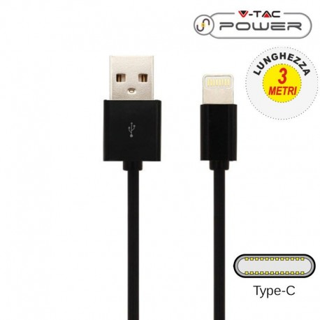 V-TAC VT-5343 CAVO USB A USB TYPE C 3 METRI NERO - SKU 8455