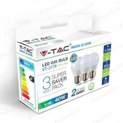 V-TAC VT-2176 SUPER SAVER PACK CONFEZIONE 3 LAMPADINE LED E27 5,5W MINIGLOBO G45 - SKU 7362 / 7363 / 7364
