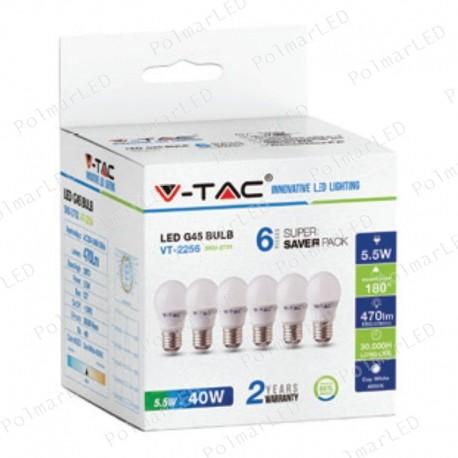 V-TAC VT-2256 SUPER SAVER PACK CONFEZIONE 6 LAMPADINE LED E27 5,5W MINIGLOBO G45 - SKU 2730 / 2731 / 2732