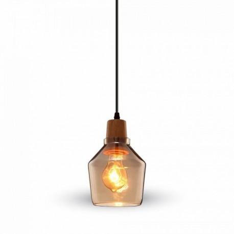 V-TAC VT-7130 LAMPADARIO A SOSPENSIONE IN VETRO CON PORTALAMPADA IN LEGNO PER LAMPADINE E27 - SKU 3818