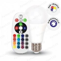V-TAC VT-2229 LAMPADINA LED E27 9W BULB A60 GOCCIA RGB+W CON TELECOMANDO - SKU 2766 / 2767 / 2768