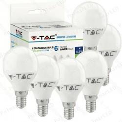 V-TAC VT-2266 SUPER SAVER PACK CONFEZIONE 6 LAMPADINE LED E14 5,5W MINIGLOBO - SKU 2733 / 2734 / 2735