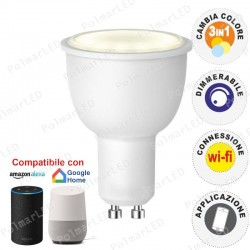 V-TAC SMART VT-5015 LAMPADINA LED WI-FI GU10 FARETTO 4,5W TRICOLOR DIMMERABILE 110° - SKU 8436